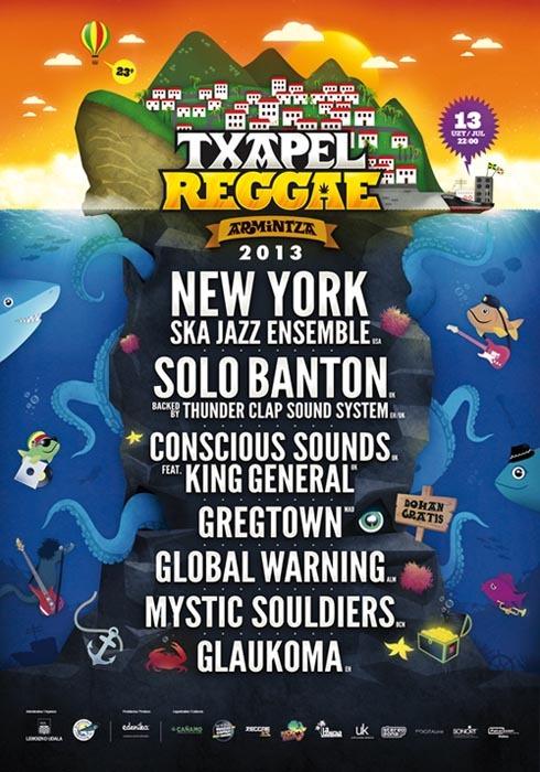 Txapel Reggae 2013 jaialdiaren kartela.
